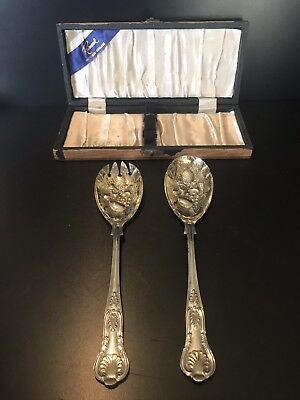 Vintage Silver Plate Raimond Sheffield Embossed Berry or Salad Spoon Set in Box
