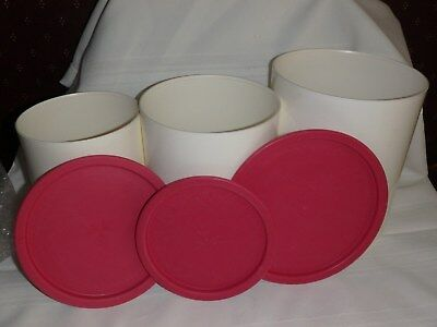 Tupperware cannister set 3 pc pink tops white bottoms one touch