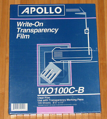 Apollo Write on Transparency Film 100 sheets W0100C-B Clear NEW 8 1/2 X 11