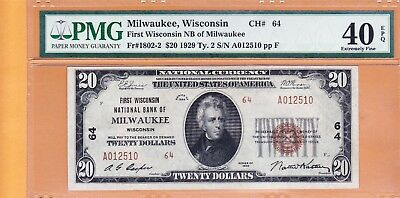 $20 1929 First National Bank of Milwaukee Wisconsin PMG 40 EPQ