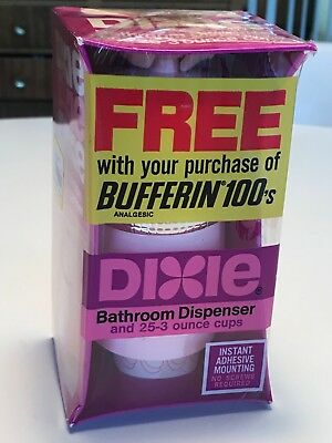 Vintage Pink Atomic Dixie Cup Bathroom Wall Dispenser for 3oz Cups-NOS