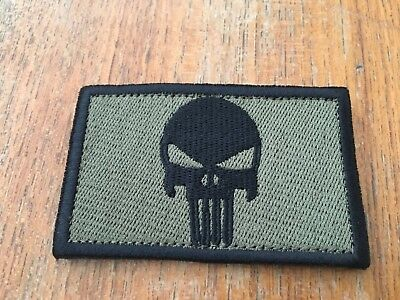 New Punisher Patch Army Green & Tactical Morale Hook Loop Patch Aussie Stock