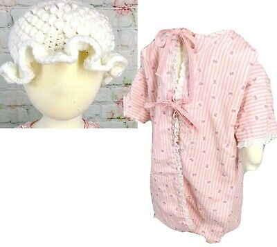 Vintage Infant Girl Night Gown And Knit Cap Pink Lace Tie Front Precious