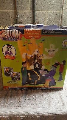 Rare!! Gemmy Airblown Inflatable Halloween Animated Zombie Organ Player