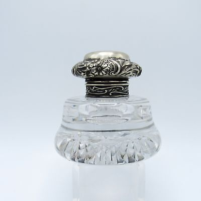 Antique Sterling and Cut Glass Inkwell, Puffy Top Pattern, NR