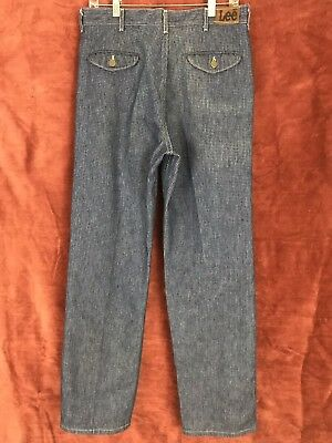 Vintage Lee Women's 1970's Pleated Checkered Jeans Size 33 x 32 United Garment