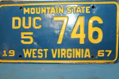 Vintage 1967 West Virginia License Plate Tag# Duc 5 746 Mountain State