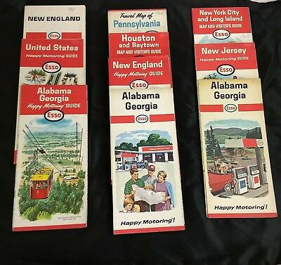Lot of 10 Esso Road Maps from 1960's
