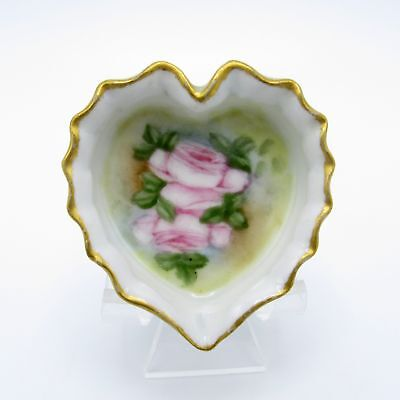 Antique Heart Shaped Ruffled Edge, Hand Painted, Roses, Open Salt Cellar, NR