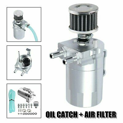 Cylinder Aluminum Engine Oil Catch Can Tank Reservoir Breather w/ Filter Kit