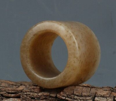 Chinese Hand-carved natural Hetian jade Ring(Inside:22.5mm / 0.89inch)
