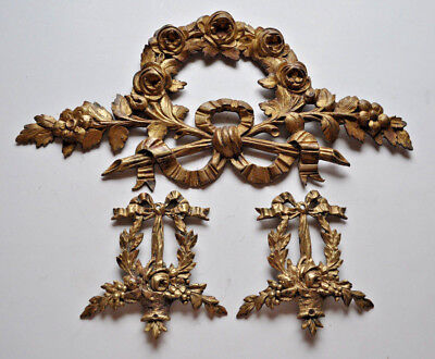 3 French Decorative Ormolu Bronze Pediment Overdoor Furniture  Salvage Ornament