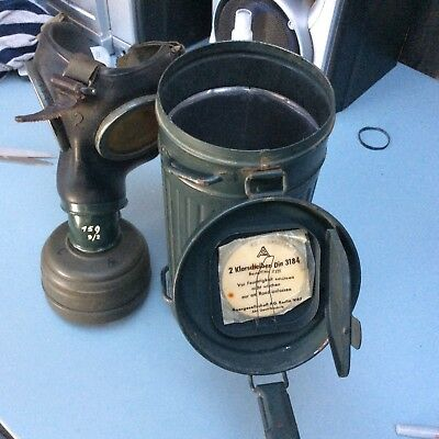 German ww2 gas mask and canister