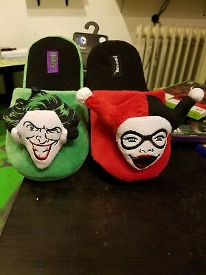 44ab8c5c2c745e D.C. Comics THE JOKER AND HARLEY QUINN Slippers. Brand New. Adult Medium 7-