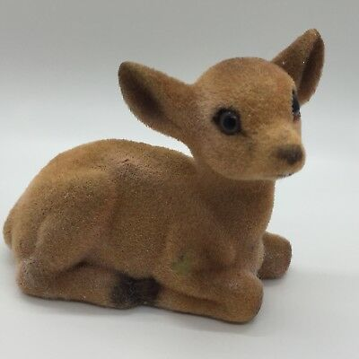 Vintage Flocked Fuzzy Fawn Spotted Deer Figurine Laying Down