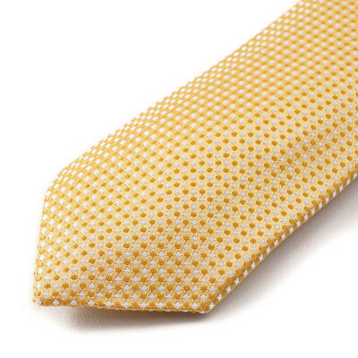 NWT $295 CESARE ATTOLINI Golden Yellow Woven Dot Pattern Silk Tie