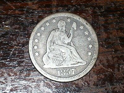 1857 Liberty Seated US Silver Quarter
