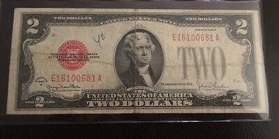 1928 G Us $2 Dollar Red Seal Note E16100681A
