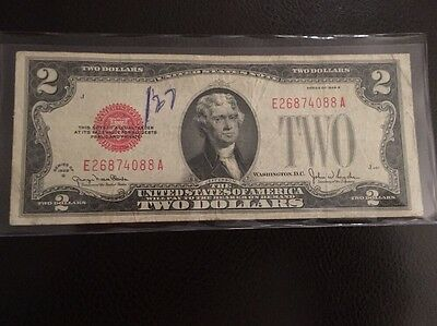 1928 G Us $2 Dollar Red Seal Note E26874088A