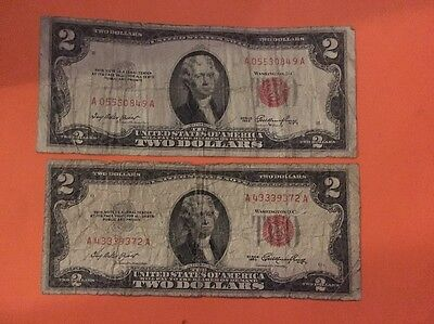 Old Vintage 1953 Series $2 Dollar Bill Red Seal United States Currency Lot Of 2