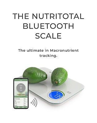 NutriTotal Bluetooth Digital Kitchen Scale Food Portions Nutrition Facts 11LB