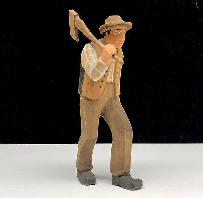 Vintage Hand Carved Wooden Figure Man Ax Woodchopper Hat Vest Germany Sweden
