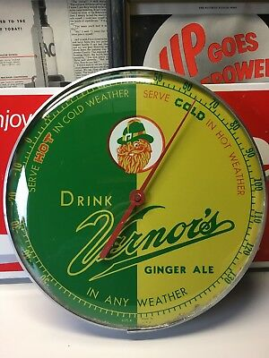 Vintage Drink Vernor's Ginger Ale Round Metal Glass Thermometer Gnome Soda Pop