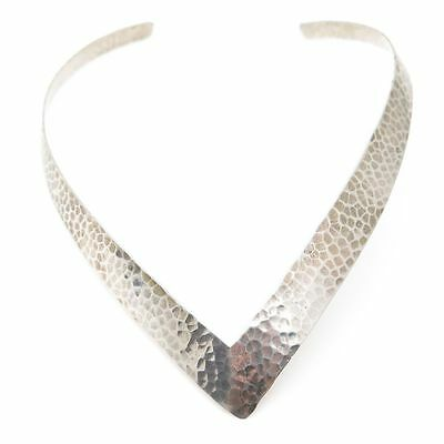 Vintage 925 Sterling Silver Hammered Textured Wide Collar Necklace