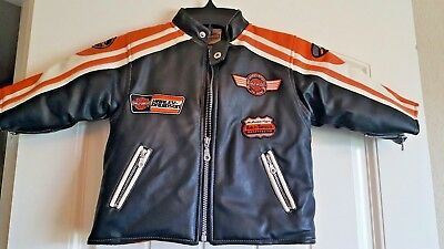 Authentic Harley-Davidson Toddler Simulated Leather Jacket, Rare! Lined,size 18M