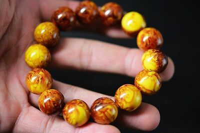 Large bracelet Exquisite Tibetan Beeswax 16mm ball Beads Prayer Bracelet F92