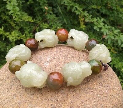 Chinese Exquisite Hand-carved Tiger head Carving Hetian jade Bracelets