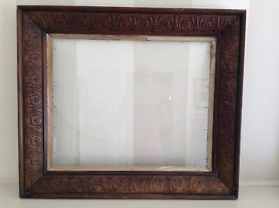 Antique Large Carved Solid Timber Photo/picture Frame With Gold Trim.
