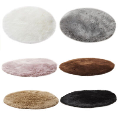 Artificial Wool Faux Fur Hairy Carpet Round Rug Chair Cover Bedroom Floor Mat