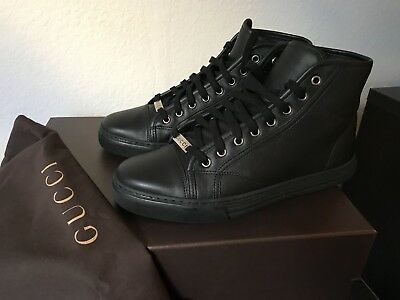 0d53353af9f Gucci Mens Authentic Black Leather High Top Sneakers Size UK 7.5 (US 8.5)  New