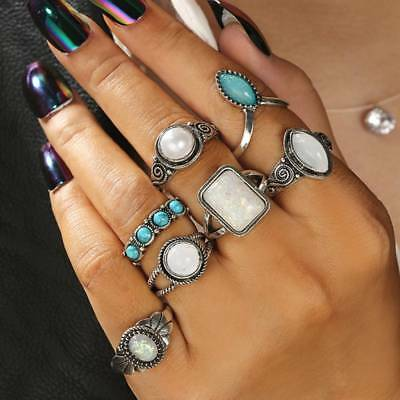 Vintage Stone Opal Rings Set For Women Antique Silver Color Knuckle Ring Jewelry