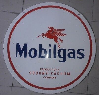 "PORCELAIN Mobilgas ENAMEL SIGN 42"" Inches Double Sided"