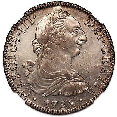 1786 Mexico 8 Reales, NGC AU-58
