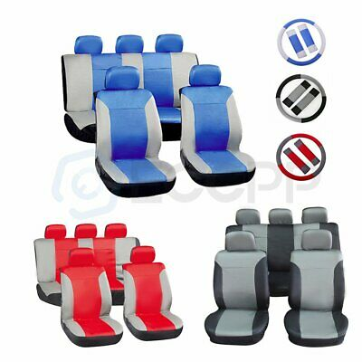 Durable New Car Seat Cover Waterproof Full Set Cover Embossed Cloth Gray Blue