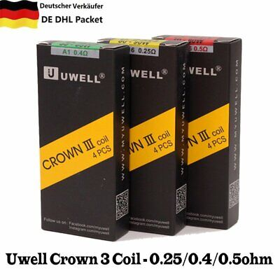 4xUwell Crown 3 Coil Head Replacement Crown III Tank Coils 0.25/0.5/0.4ohm H5 DE