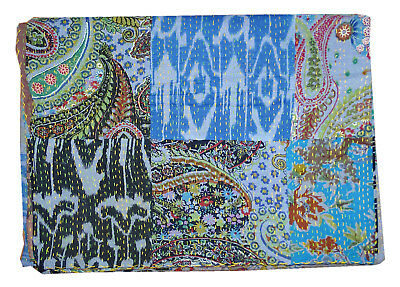 King Size Patchwork Cotton Kantha Quilt Handmade Bedspread Throw Sari Bed cover