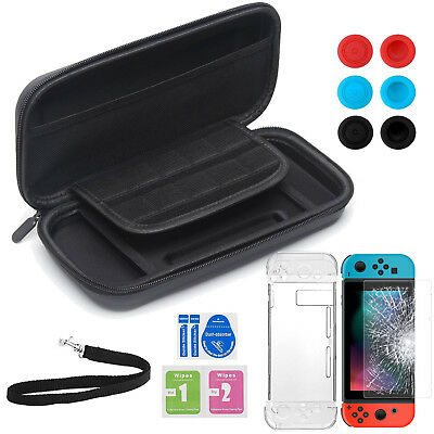 4 in 1 Zippers Travel Bag +TPU Case + Tempered Glass + grips For Nintendo Switch