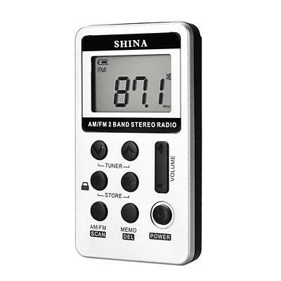 Mini Digital Portable Pocket Handy LCD AM FM Radio 2 Band Stereo Receiver Preset