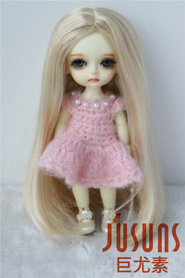 5-6inch Long Forest Straight Doll Wig 1/8 Synthetic Mohair BJD Hair 4color