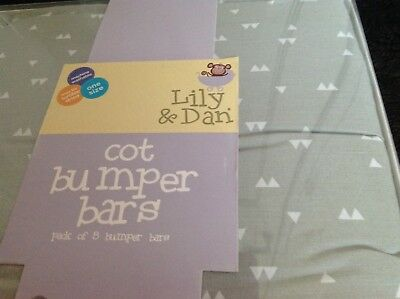 Brand New LILLY & Dan Babies/Boy kids/Unisex Grey Cot Bumper Bars Pack of 8
