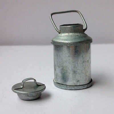 Vintage Dollhouse Miniature Tin Metal Milk Can With Lid Handle Silver 12th Scale