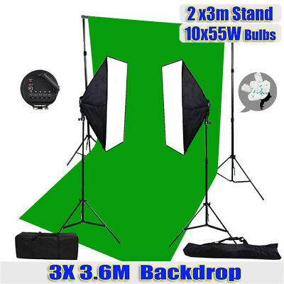 Photography Studio 5-Head Softbox Lighting Green Backdrop 2x3m Support Stand Kit