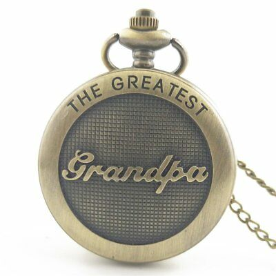 Meaningful Grandpa Carved Vintage Antique Round Dial Quartz Pocket Watch SW