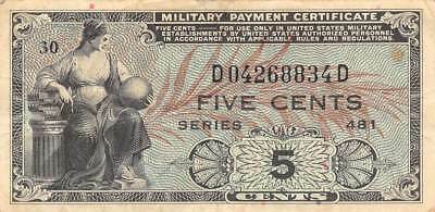 USA / MPC  5  Cents  ND. 1951  M22  Series 481  plate # 30  Circulated Banknote
