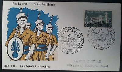SCARCE 1956 Algeria Foreign Legion Welfare Fund FDC w15+5Fr stamp Sidi Bel Abbès