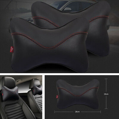 2Pcs PU Leather Vehicle Car Safety Headrest Head Neck Support Pillow Comfortable
